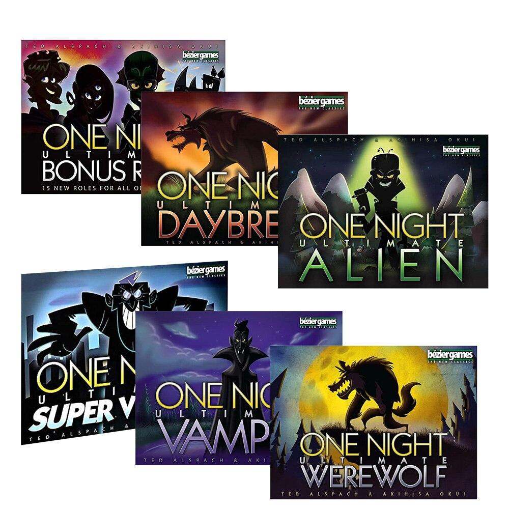 Gioco da tavolo One Night Ultimate Werewolf, Daybreak, vampire, Alien, super villains, ruolo bonus gioco di carte da tavolo per la festa in famiglia