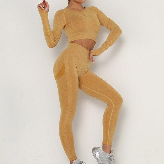 Фото женский спортивный костюм набор одежды для йоги тренировок тренажерного