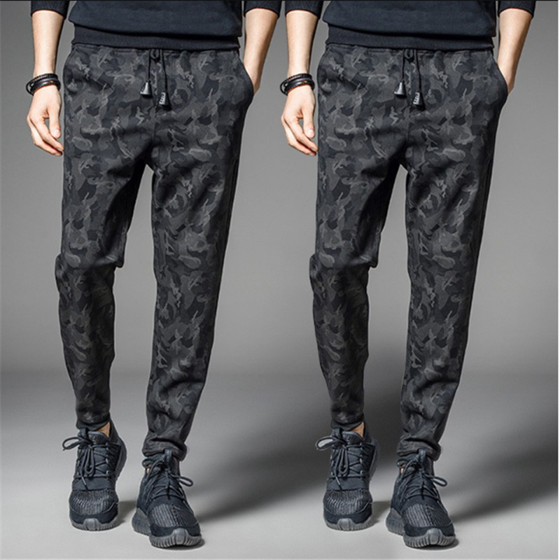 Autumn And Winter Camouflage Pants MEN'S Casual Pants Black And White With Pattern Loose-Fit Sports Skinny Wei Pants Length Pant