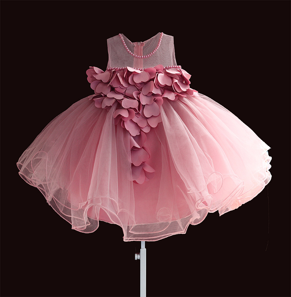 Zoeflowe Spring And Summer New Style Baby Girls Transparent Shoulder Pure Cotton A Year Of Age Baptism Princess Dress Deep Pink
