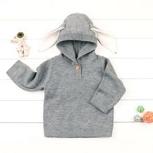Однотонные свитера с капюшоном для новорожденных трикотажные пуловеры с кроличьими ушками для маленьких мальчиков и девочек мягкая теплая одежда с длинными рукавами для детей от 6 до 24 месяцев, A20