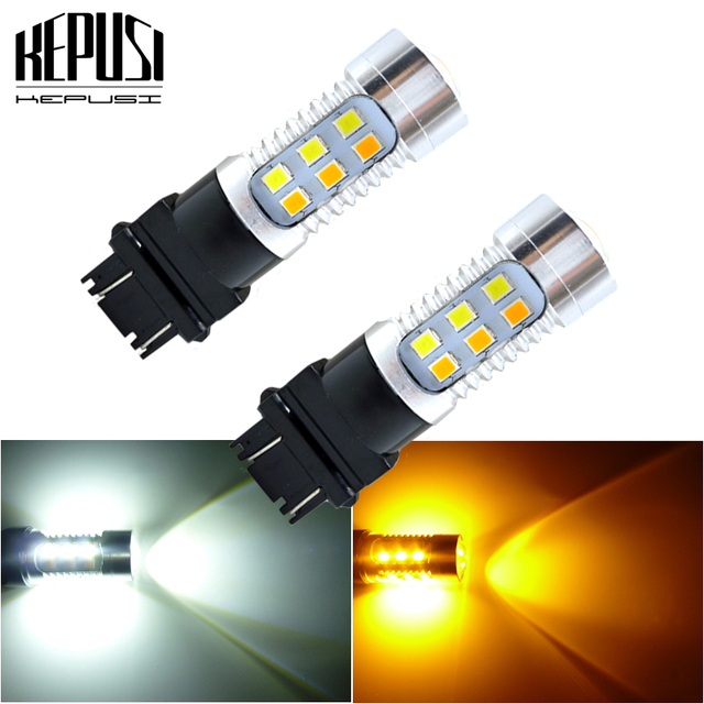 2X3157 3757 Amber/Wit Dual Color Switchback Led Car Auto Parking Richtingaanwijzer Remlicht Staart reverse Lamp T25 12V 24V