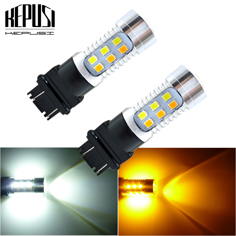 2X White//Amber 3157 3155 3457 2835SMD Switchback LED Turn Signal Lights Bulbs