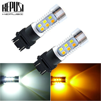 2x 3157 3757 Amber/White Dual Color Switchback LED Car Auto Parking Turn Signal Light Brake Lamp Tail Reverse Bulb T25 12v 24v 1xhigh power 1157 5630 20smd dual color type 2 switchback white amber yellow switchback led drl turn signal parking light bulbs
