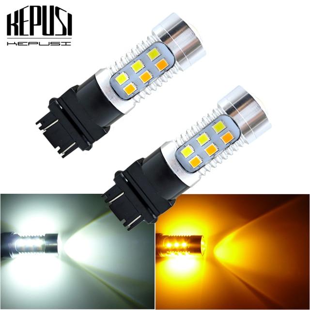 2x 3157 3757 Amber/White Dual Color Switchback LED Car Auto Parking Turn Signal Light Brake Lamp Tail Reverse Bulb T25 12v 24v