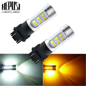 Image 1 - Bombilla LED de doble Color ámbar/blanco para coche, luz de freno, señal de giro de estacionamiento automático, Bombilla trasera T25 12v 24v, 2x3157 3757