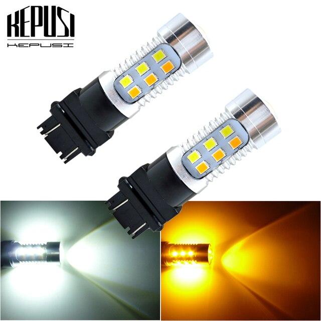 Bombilla LED de doble Color ámbar/blanco para coche, luz de freno, señal de giro de estacionamiento automático, Bombilla trasera T25 12v 24v, 2x3157 3757