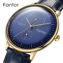 Fantor Brand Classic Men Luxury Chronograph Blue Leather relogio masculino Quart