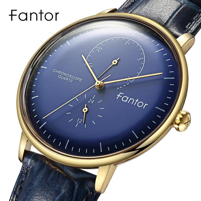 Fantor Top Brand Luxury Watch Men Chronograph Quartz Wristwatch Men's Genuine Leather Waterproof Male Clock Watches