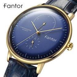 Fantor marca de topo dos homens relógio de luxo cronógrafo quartzo relógio de pulso relógios de couro genuíno para o homem masculino à prova dwaterproof água