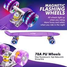 Скейтборд четырехколесный из ПУ кожи маленький скейтборд с рыбками