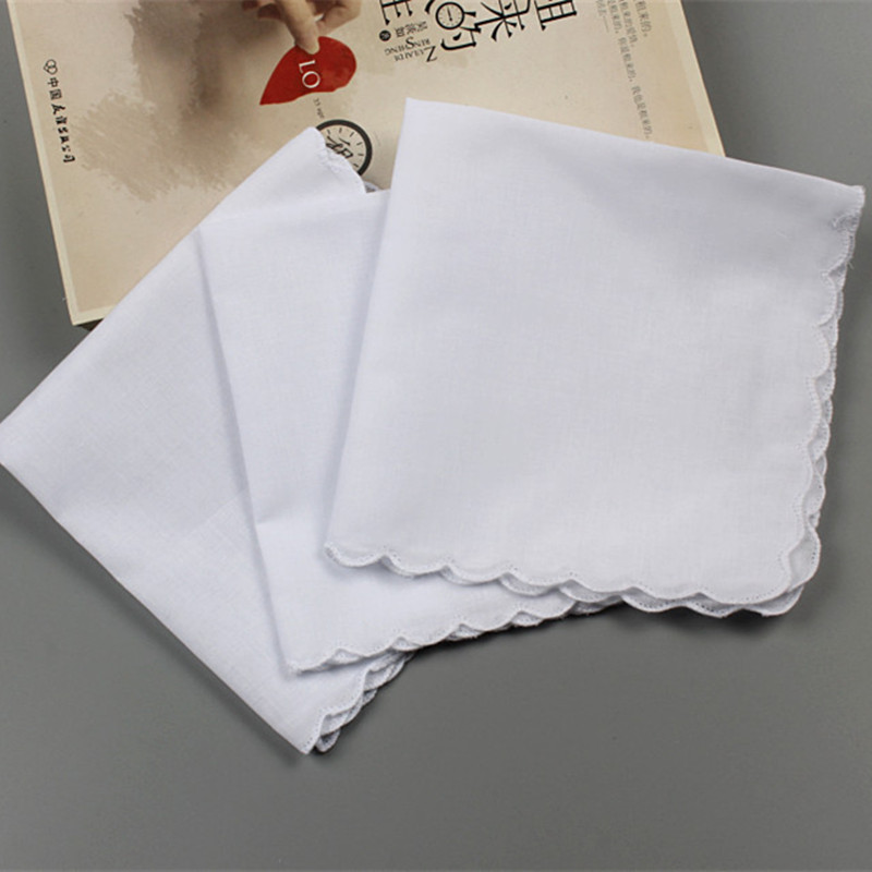 5Pcs 28x29cm Cotton White Wave Edge Handkerchief Handmade Painting Graffiti DIY Doodling Chest Towel Gift Pocket Hankies QLY9826