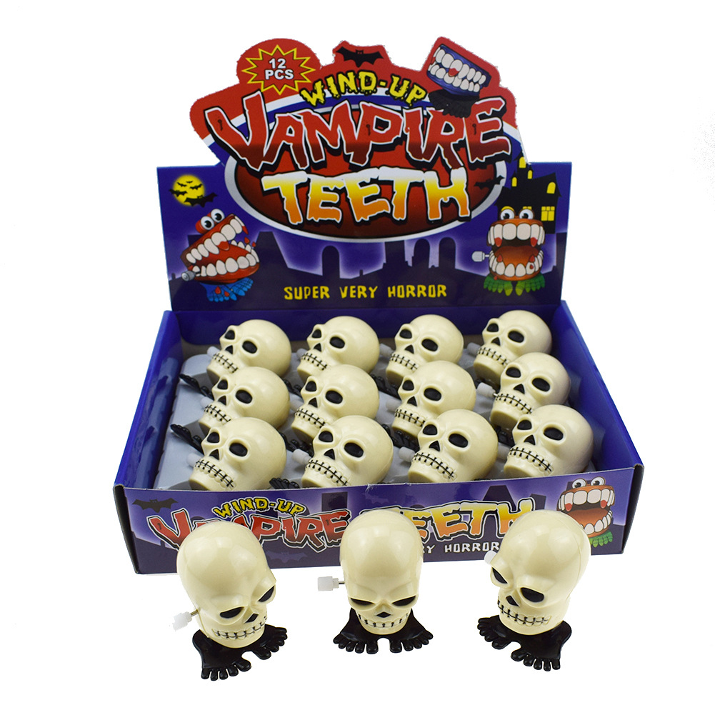 Novelty Funny Winding Spring-Winding White Jumping Skull Halloween Christmas Small Gifts Toy