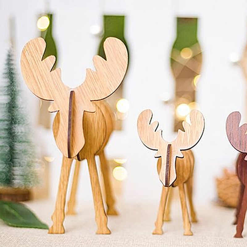 New1PC Houten Kerst Ambachten Kerst Milu Herten Artikelen voor Kerst Producten Voor Thuis Party Decorations