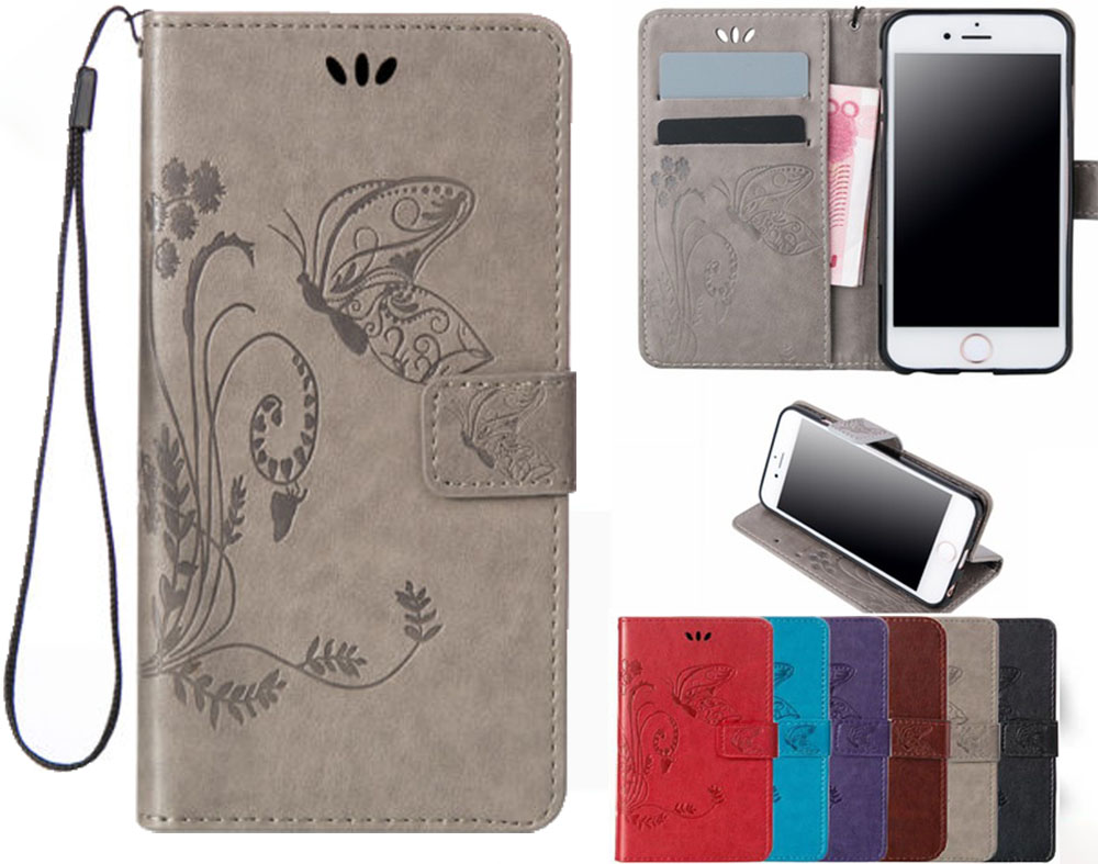 butterfly Leather Flip Case for <font><b>Samsung</b></font> galaxy J1 J3 J4 J5 J6 <font><b>J7</b></font> <font><b>2016</b></font> 2017 A5 A3 A8 2018 S5 S6 S7 S8 S9 Plus Edge Cover image