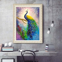 Peacock 5D DIY Diamond Painting Kit Round Full Drill Rhinestone Embroidery Cross Stitch Art Craft Mosaic Making For Wall Decor