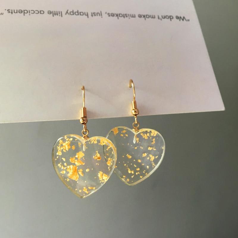Gold-Earrings Tassel Party Jewelry Peach-Heart Geometric Transparent Resin Vintage Bohemia