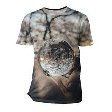Novo verão moda manga curta camiseta 3d impresso natural bola padrão crianças meninos meninas roupas casuais t e topos