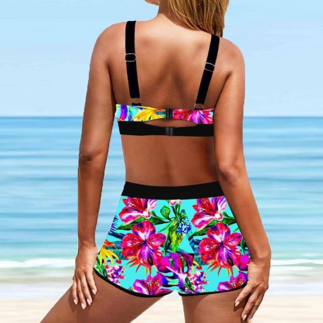 Large Size 8XL Women's New Arrival Bikini Women Tankini Sets Two Piece Bikini Sets With Surfing Short Boy Shorts Swimwear 2