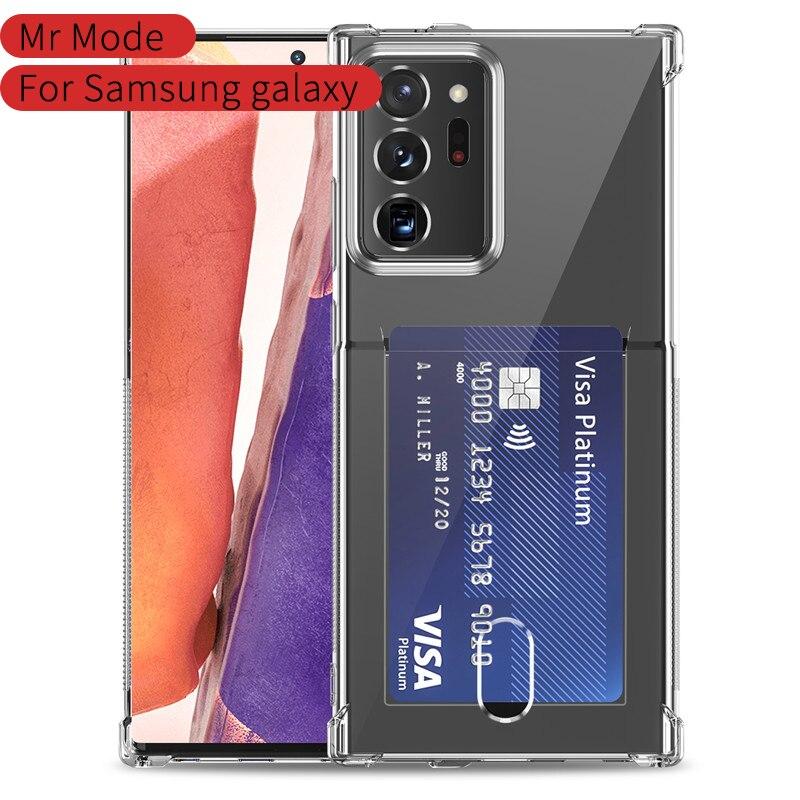 Простой Прозрачный с карманом для карт мягкий чехол для телефона задняя крышка для Samsung Galaxy S20 S10 E S9 Plus Note 20 10 9 Pro Ultra