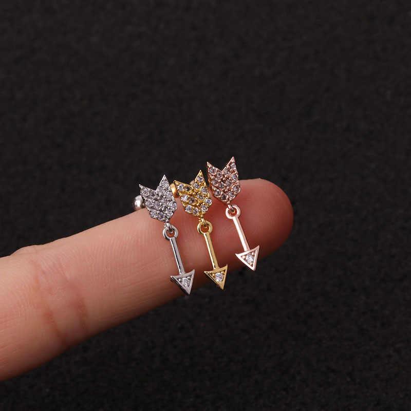 2 pçs/lote Cor de Rosa de Ouro Curvo Cz Rook Helix Cartilagem Garanhão Concha Parafuso de Volta Brinco 20g Aço Inoxidável Ear Piercing Jóias