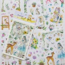 Pegatinas adhesivas decorativas de papel de álbum, 6 hojas, elfo Pastoral, decoración de cuenta manual