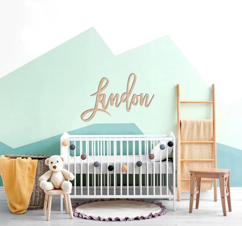 Baby Name Backdrop Wooden Name Nursery Name Sign Crib Name Wall Hanging