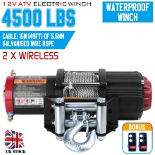 4500lbs Electric Winch 12V Remote Control Steel Cable Powerful Winch Heavy Duty ATV Boat Wincher Tool 4x4 Pulley 3000lb heavy duty recovery electric atv utv rope cable winch wireless remote truck boat trailer lifting sling dc 12v
