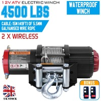 4500lbs Electric Winch 12V Remote Control Steel Cable Powerful Winch Heavy Duty ATV Boat Wincher Tool 4x4 Pulley