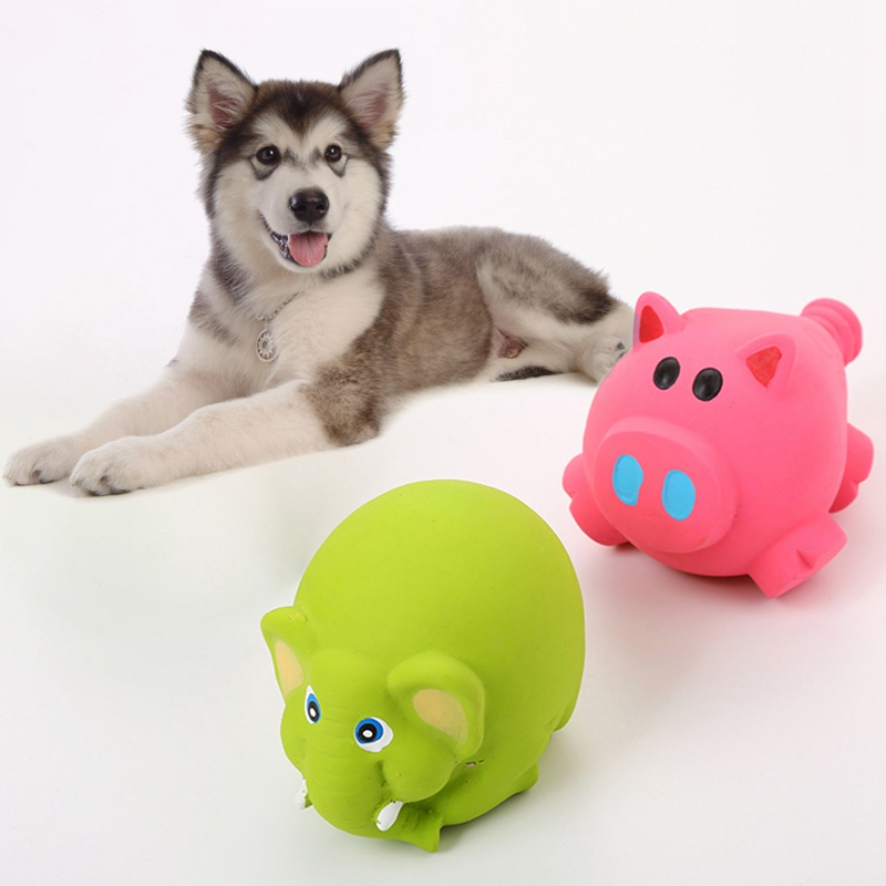 Pet Natural Latex Squeaky Chew Toys for Dogs Durable Realistic Animals Toys for Solving <font><b>Boredom</b></font> Cute Pig Shape Molar Dog Toy image