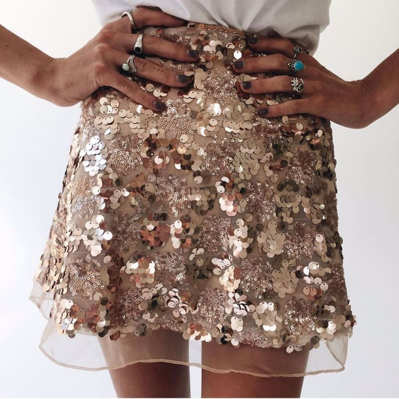 Sexy Sequined <font><b>Skirts</b></font> Women Fashion <font><b>Rose</b></font> <font><b>Gold</b></font> Lace Vintage <font><b>Skirts</b></font> Ladies A Line Club Party Club Shiny Mini <font><b>Skirts</b></font> image