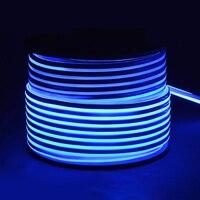 Fanlive Super Bright 50M LED Neon Light 110V 220V Flexible Lamp Red Decoration Ivory 80leds/m LED Strip Waterproof Light Rgb