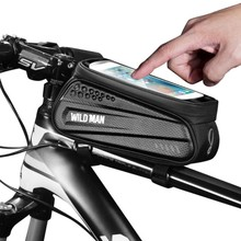 2019WILD MAN Bicycle Hard Shell Bag Front Beam Bag Mountain Bike Waterproof Mobile Phone Screen Tube Saddle Bag Riding Equipment bicycle scooter head bag folding handlebar folding bike bag saddle car seat bag riding shoulder waterproof phone bicycle front b