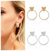 Vintage Punk Leopard Head Earring Gold Silver Color Circle Exaggerated Geometric Metal Big Earrings Fashion Women Jewelry 2020 недорого