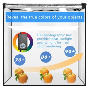 Image 2 - 40/50/60cm Photography LED Studio Lightbox Photo Light Tent Kit Tabletop Shooting SoftBox with 3 Colors Background Photo Box