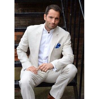 New Men's Suit Smolking Noivo Terno Slim Fit Easculino Evening Suits For Men Ivory Groom Blazer Masculino 2 Piece Wedding Tuxedo
