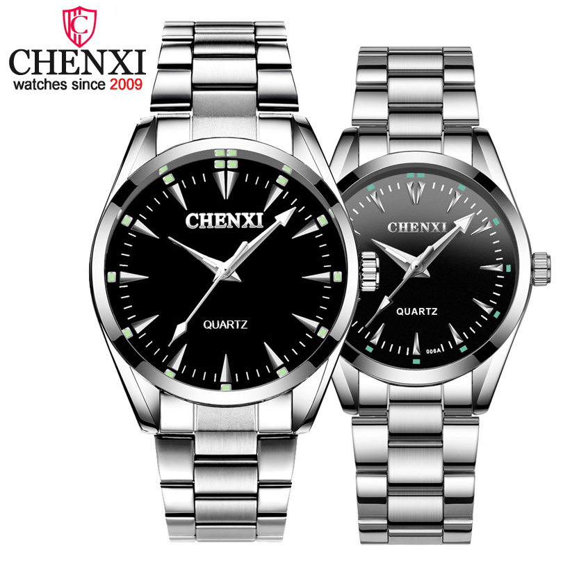 CHENXI Brand Fashion Luxury Quartz Lover Couple Watch Classic Simple Silver Stainless Steel Men And Women Watches Orologi Coppia