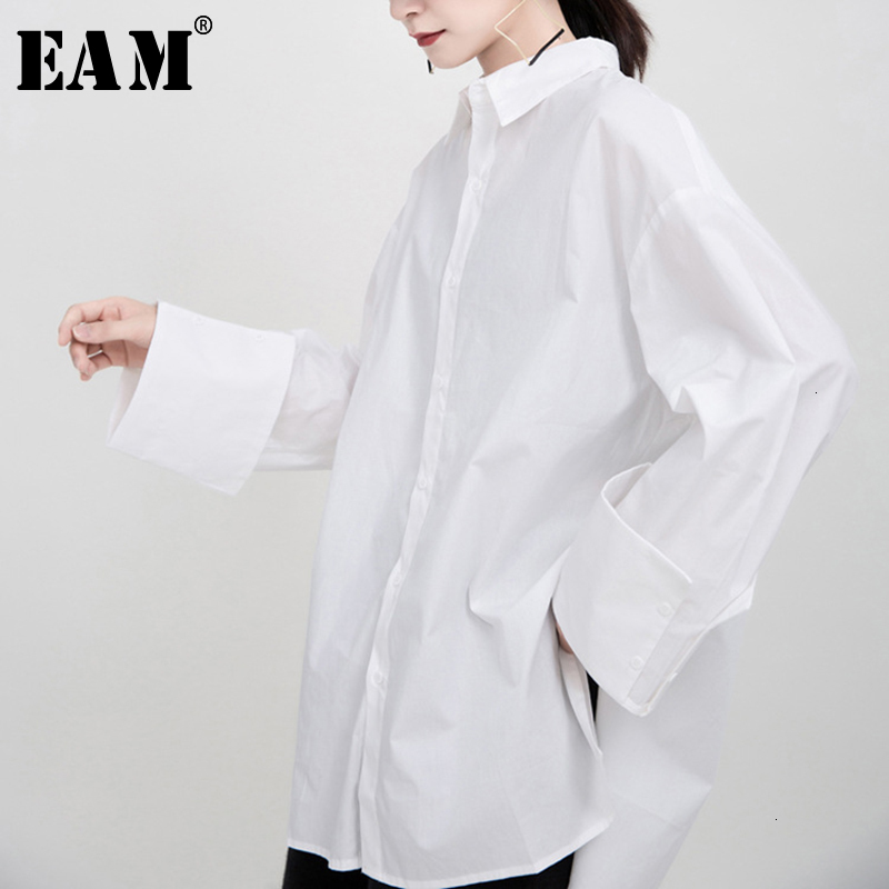[EAM] Women Whitevent Brief Big Size Blouse New Lapel Long Sleeve Loose Fit Shirt Fashion Tide Spring Autumn 2020 1M933