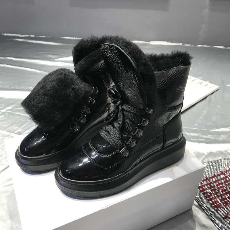 Shearling Botas Feminina kış kar botları kadın platformu bayan ayakkabıları orta buzağı çizmeler sıcak Botas Mujer Casual Sapato Feminino
