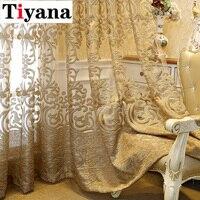 Cortina hueca bordada de lujo europeo para sala de estar, tela Elgent para dormitorio, ventanas francesas, Cortina de Cortina completa Y superior