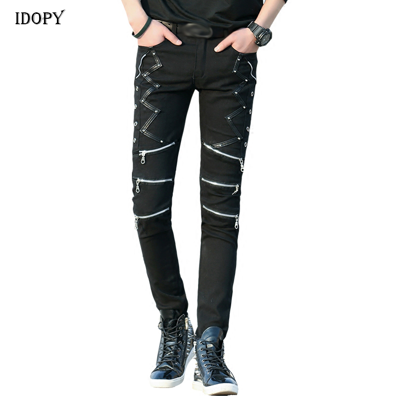 Idopy Fashion Slim Fit Pants Punk Style Black Patchwork Leather Zippers Dance Night Club Gothic Cool Jeans Trousers For Men