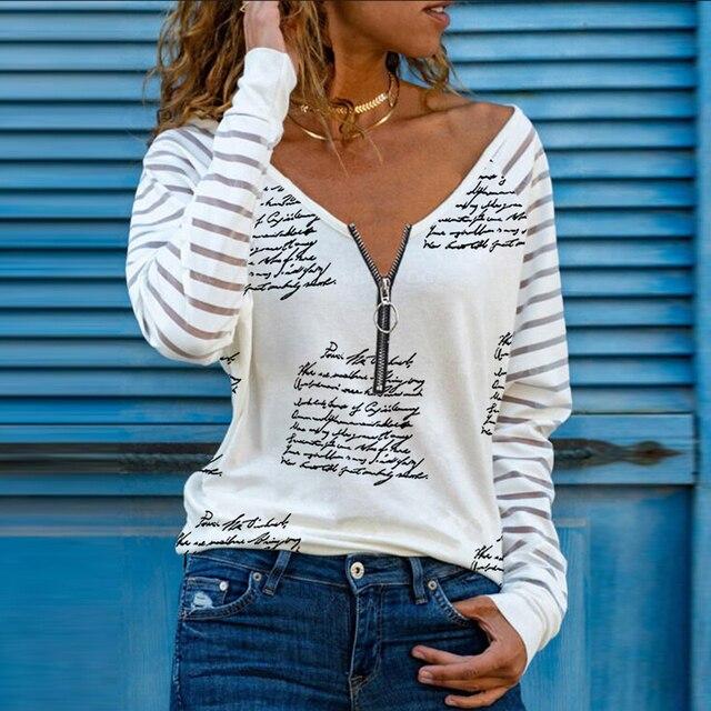 Blusa holgada informal con manga larga para Primavera, camisa con estampado de corazón para mujer, cuello en V, cremallera, 2021 4