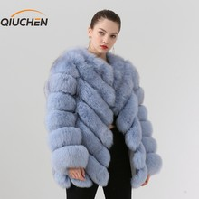 QIUCHEN PJ19059 2019 New arrival real fox fur women winter jacket High quality real leather jacket Free shipping hot sale(China)
