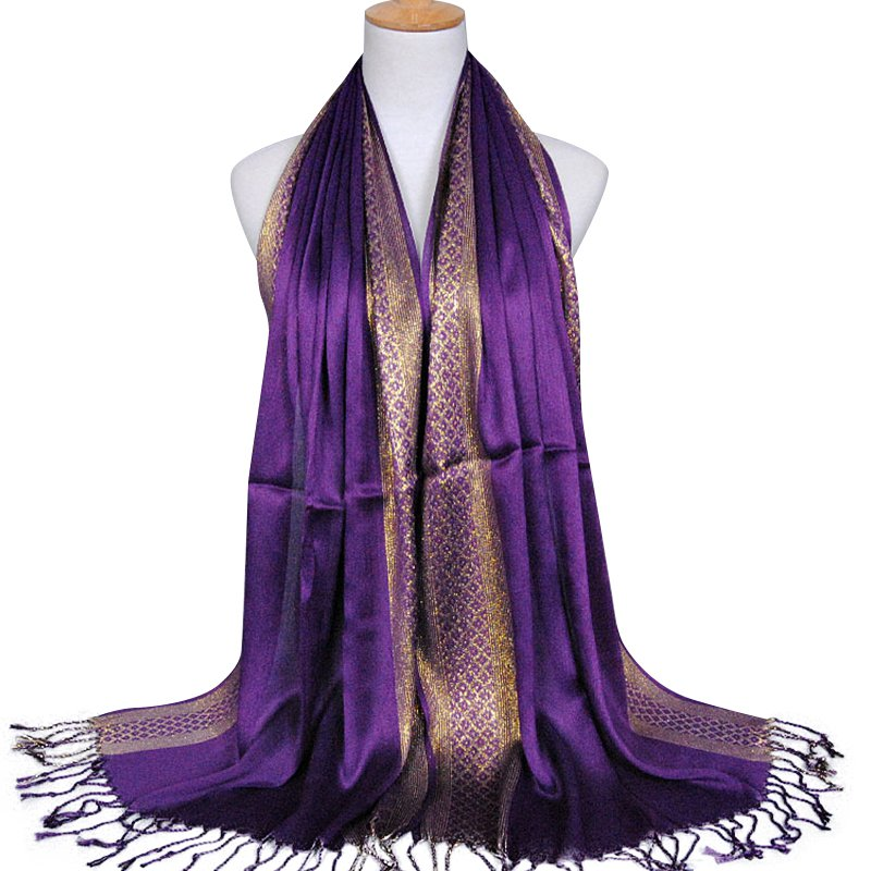 Elegant Scarf For Women Gold Silk Tassel Scarf Muslim Color-blocked All-match Soft Sunscreen Headband Fashion Scarf Female