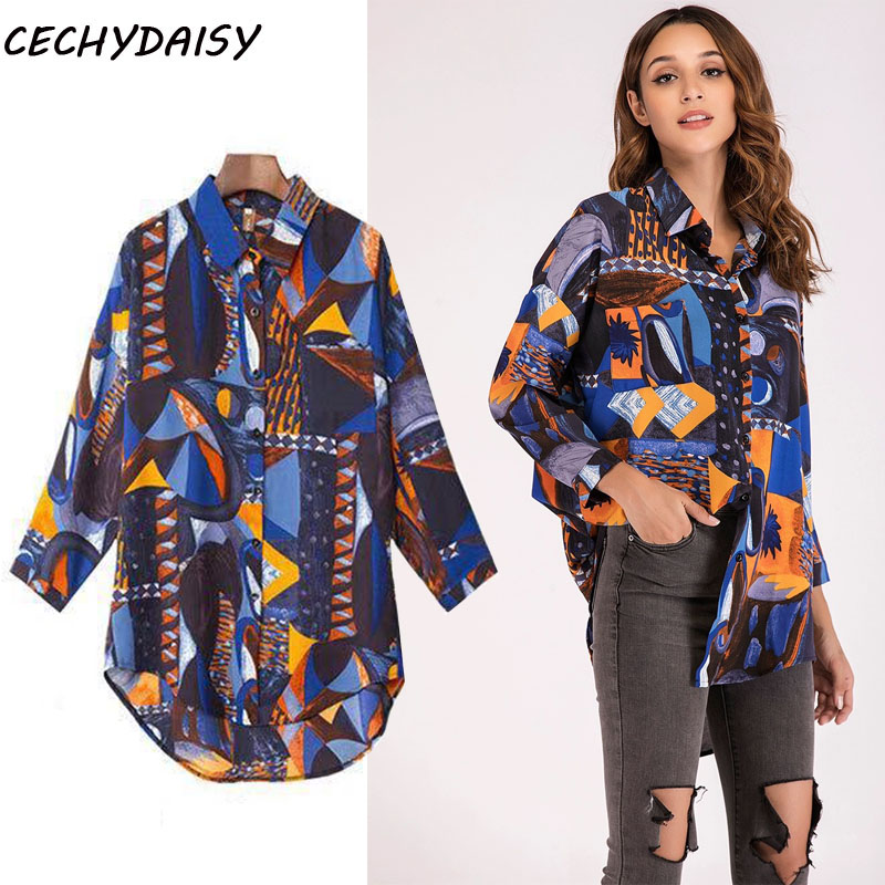 shirts women 2020 Autumn winter new printing long sleeve loose longfemale blouses hollow out Casual V-neck Women Chic Blouses Female Men and women in the same section New Arrival ladies plus size tops Blusas Mujer ins