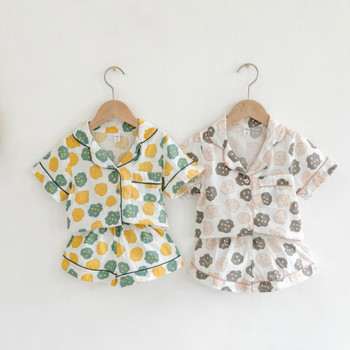 Toddler Kids Baby Pajamas Sets 100 Cotton Cartoon Print Children #8217 s Summer Pyjamas Girls Costumes Kid Sleepwear Infant Clothes tanie i dobre opinie Skręcić w dół kołnierz Unisex Krótki REGULAR Sweet Pasuje prawda na wymiar weź swój normalny rozmiar Suknem Yellow Gray