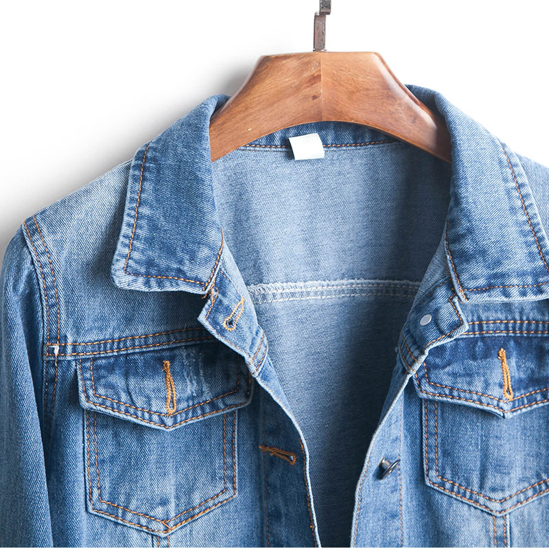 Plus Size Ripped Hole Cropped Jean Jacket 4Xl 5Xl Light Blue Bomber Short Denim Jackets Jaqueta Long Sleeve Casual Jeans Coat 4