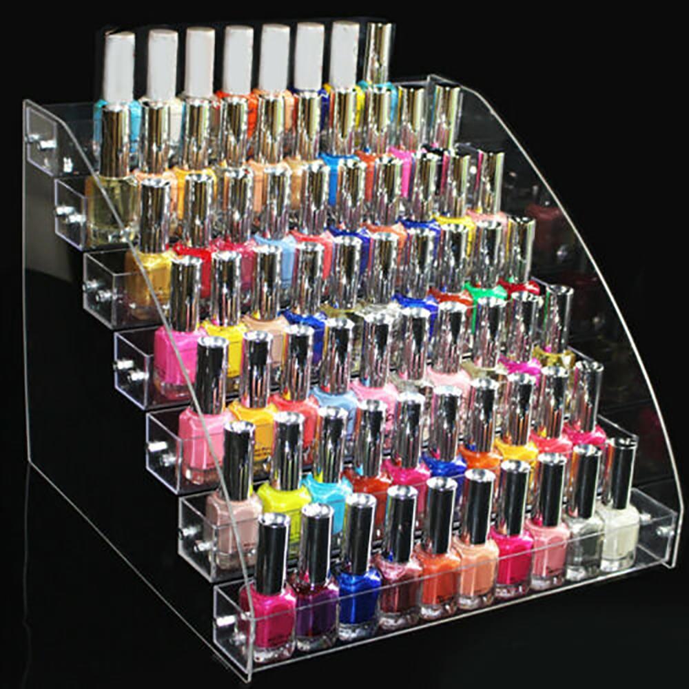 2/3/4/5/6/7 Layers Acrylic Nail Polish Display Rack Stand Lipstick Storage Box Cosmetic Varnish Organizer Stand Holder