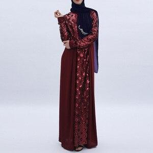 Image 4 - Women Dress Sequins Stitching Long Robe Abaya Jilbab Muslim Maxi Dresses Arabian Designer Elegant Party Robes Plus Size 2XL