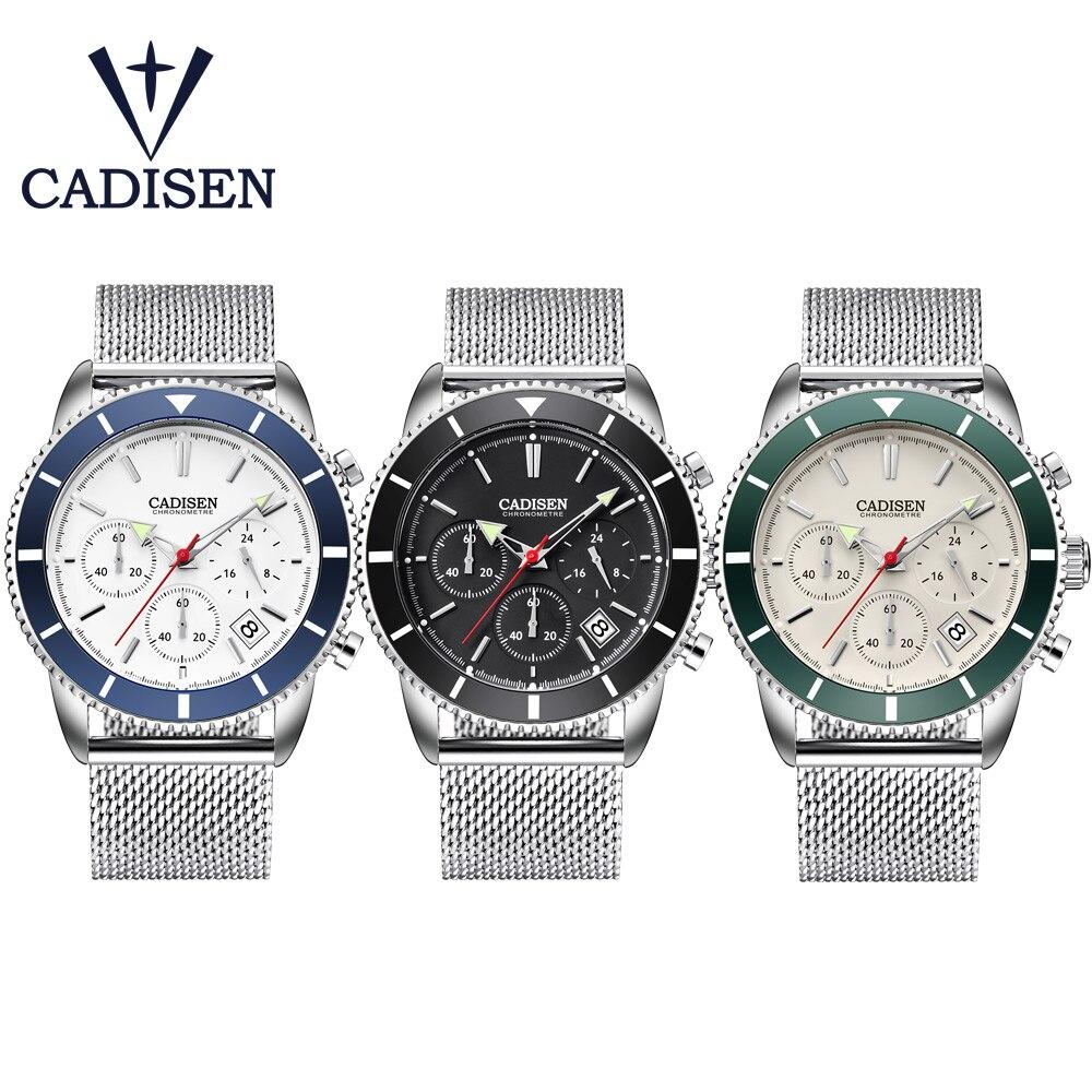CADISEN Clock Mens Watches Top Brand Luxury Waterproof Quartz Sports Wristwatches Stainless Steel Date Fashion Casual Watch Men